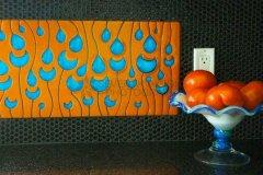Raindrops Glass Panel in Orange/Aqua